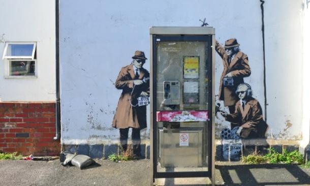 Banksy mural on British eavesdropping April 2014