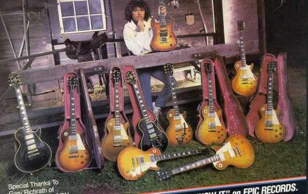Gary Richrath with his collection of Les Pauls